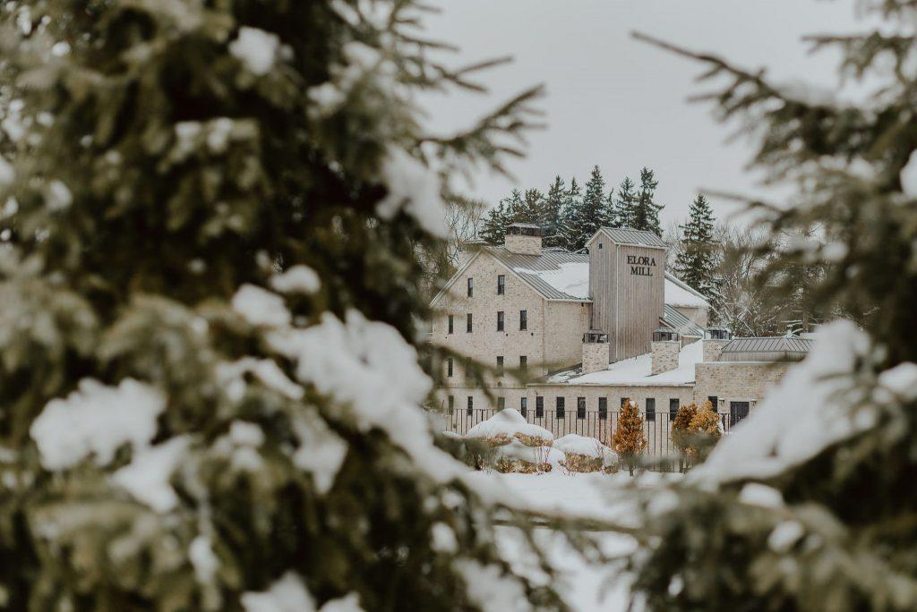 Elora Mill in the winter